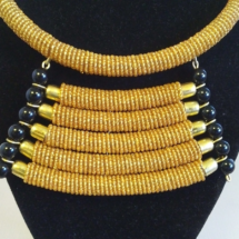 Gold Beaded Necklace Close-Up